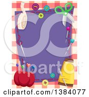 Clipart Of A Purple Cloth Frame Bordered In Sewing Supplies And Notions Over Plaid Royalty Free Vector Illustration