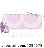 Clipart Of A Purple Sewn Patch Banner Label With A Sewing Needle And Thread Royalty Free Vector Illustration