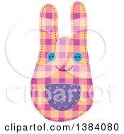 Clipart Of A Plaid Patterned Sewn Rabbit Royalty Free Vector Illustration