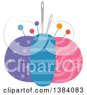 Clipart Of A Colorful Patterned Sewing Pin Cushion Royalty Free Vector Illustration