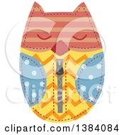 Clipart Of A Colorful Patterned Sewn Owl Pouch Royalty Free Vector Illustration