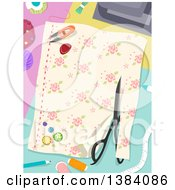 Clipart Of A Pair Of Scissors Cutting Fabric And Sewing Notions Royalty Free Vector Illustration by BNP Design Studio