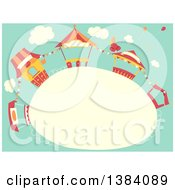 Clipart Of A Frame With Carnival Booth Stands Against Sky Royalty Free Vector Illustration