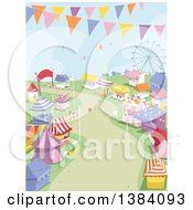 Clipart Of A Theme Park Landscape With Booths Rides And Banners Royalty Free Vector Illustration