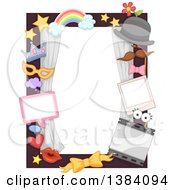 Clipart Of A Border Frame With Picture Props With Party Themes Royalty Free Vector Illustration