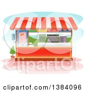 Clipart Of A Food Vendor Kiosk Booth Royalty Free Vector Illustration