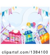 Clipart Of A Trio Of Theme Park Candy Vendor Stands Royalty Free Vector Illustration