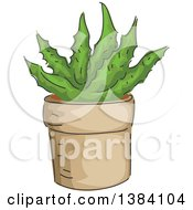 Clipart Of A Potted Succulent Aloe Vera Plant Royalty Free Vector Illustration