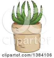 Clipart Of A Potted Succulent Cactus Plant Royalty Free Vector Illustration