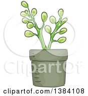 Clipart Of A Potted Succulent Plant Royalty Free Vector Illustration