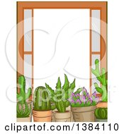 Clipart Of A Frame Border Of Succulent Plants On A Window Sill Royalty Free Vector Illustration