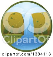 Clipart Of A Waterfall Landscape In A Circle Royalty Free Vector Illustration