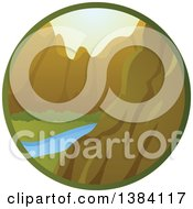 Clipart Of A River And Mountain Landscape In A Circle Royalty Free Vector Illustration by BNP Design Studio