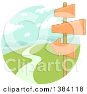 Clipart Of Directional Wood Signs Along A Rural Road Leading To Mountains Royalty Free Vector Illustration