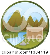 Clipart Of A Blank Sign River And Mountain Landscape In A Circle Royalty Free Vector Illustration by BNP Design Studio