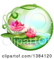 Clipart Of A Green Magical Orb With Pink Water Lily Lotus Flowers On A Pond Royalty Free Vector Illustration