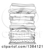 Clipart Of A Grayscale Pile Of Clean Folded Shirts Royalty Free Vector Illustration