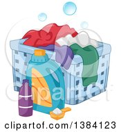 Clipart Of Laundry Detergent By A Hamper With Clothes Royalty Free Vector Illustration
