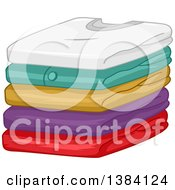 Clipart Of A Pile Of Folded Clean Shirts Royalty Free Vector Illustration
