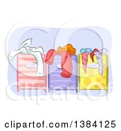 Clipart Of Different Colored And Patterned Full Laundry Hampers Royalty Free Vector Illustration by BNP Design Studio