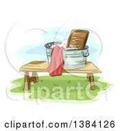 Clipart Of A Sketched Laundry Basin With A Washboard On A Table Outside Royalty Free Vector Illustration by BNP Design Studio