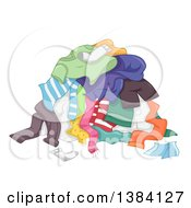 Clipart Of A Pile Of Dirty Clothes For The Laundry Royalty Free Vector Illustration by BNP Design Studio