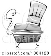 Clipart Of A Grayscale Steaming Chafing Dish With A Toque Chef Hat Royalty Free Vector Illustration