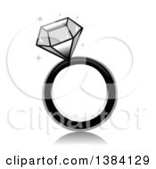 Clipart Of A Grayscale Sparkly Diamond Ring Royalty Free Vector Illustration