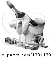 Clipart Of A Grayscale Engagement Ring In A Box By A Rose Glasses And Bottle Of Champagne In An Ice Bucket Royalty Free Vector Illustration
