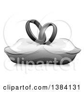 Clipart Of A Grayscale Pair Of Entwined Wedding Band Rings On A Pillow Royalty Free Vector Illustration