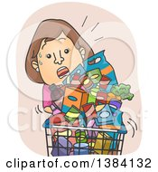 Clipart Of A Cartoon Sweaty Brunette White Woman Struggling With An Overfilled Grocery Cart Royalty Free Vector Illustration