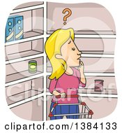 Clipart Of A Cartoon Blond White Woman Confused About Empty Shelves In A Grocery Store Royalty Free Vector Illustration by BNP Design Studio