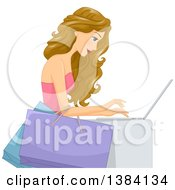 Clipart Of A Blond White Woman Holding Shopping Bags On Her Arm And Shoppingon A Laptop Computer Royalty Free Vector Illustration