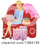 Clipart Of A Happy Blond White Woman Sitting On A Chair Surrounded By Bags And Shopping On A Laptop Royalty Free Vector Illustration