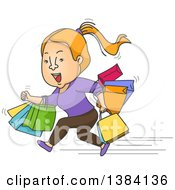 Clipart Of A Cartoon Strawberry Blond White Woman Running With Shopping Bags Royalty Free Vector Illustration