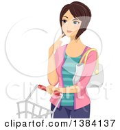 Clipart Of A Brunette White Woman Thinking And Standing With A Shopping Cart Royalty Free Vector Illustration