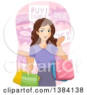 Clipart Of A Happy Brunette White Woman Holding Shopping Bags In Front Of Sale Signs Royalty Free Vector Illustration by BNP Design Studio