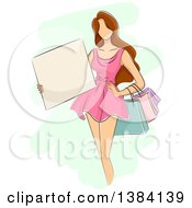 Clipart Of A Sketched Faceless Brunette White Woman In A Pink Dress Holding Shopping Bags And A Blank Sign Royalty Free Vector Illustration