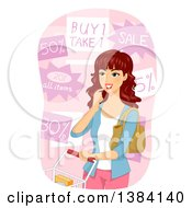 Clipart Of A Brunette White Woman Choosing From Grocery Store Discounts Royalty Free Vector Illustration