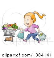 Clipart Of A Cartoon Strawberry Blond White Woman Running With A Shopping Cart And Bags Of Groceries Royalty Free Vector Illustration