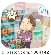 Clipart Of A Cartoon Brunette White Woman Shopping Sales In A Grocery Store Royalty Free Vector Illustration