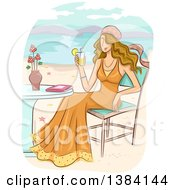 Dirty Blond White Woman Wearing A Bohemian Dress And Holding A Cocktail While Sitting At A Table On A Beach