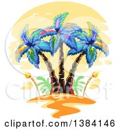 Clipart Of Hawaiian Palm Trees And Tiki Torches At Sunset Royalty Free Vector Illustration