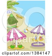 Clipart Of A Beach Party Scene With Umbrellas Tables A Bar And Ball Royalty Free Vector Illustration