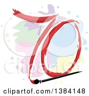 Poster, Art Print Of Seventieth Anniversary Or Birthday Design With A Painted Number 70