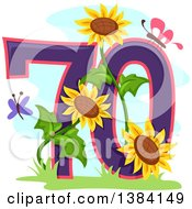 Seventieth Anniversary Or Birthday Design With Number 70 Butterflies And Sunflowers