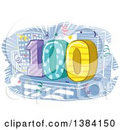 Clipart Of A One Hundredth Anniversary Or Birthday Design With Number 100 And City Buildings Royalty Free Vector Illustration