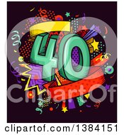 Clipart Of A Fortieth Anniversary Or Birthday Design With Number 40 And Colorful Stars And Confetti Royalty Free Vector Illustration