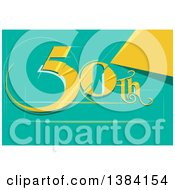 Clipart Of A Fiftieth Anniversary Or Birthday Design With Number 50 In Gold Royalty Free Vector Illustration