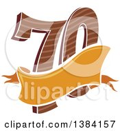 Clipart Of A Seventieth Anniversary Or Birthday Design With Number 70 And A Blank Ribbon Banner Royalty Free Vector Illustration